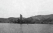 Sunken Japanese battleship Ise off Ondo Seto island, circa in October 1945