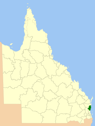 Sunshine Coast Region - Location within Queensland, 2013, prior to the de-amalgamation of Shire of Noosa