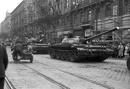 Soviet T-55[116][original research?] tanks in Budapest on 31 October