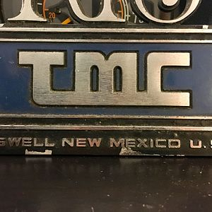 "Transportation Manufacturing Corporation - A plaque found in RTS made after the 1980s, featuring the TMC logo and the acronym ""RTS"""