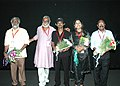 T V Chandran (director), Navya Nair (actress),Cheran (producer &actor),Issac Thomas Ktukapally (music director) at the presentation of the film Aadum Koothu during the 37th International Film Festival (IFFI-2006) in Panaji.jpg