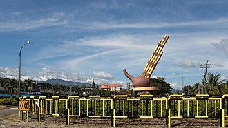 Tambunan - Roundabout with statue of sompoton.