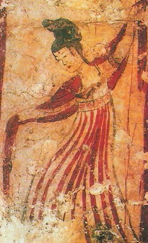 Dance in China - A Tang Dynasty dancer from a mural unearthed in Xi'an dancing with a shawl.