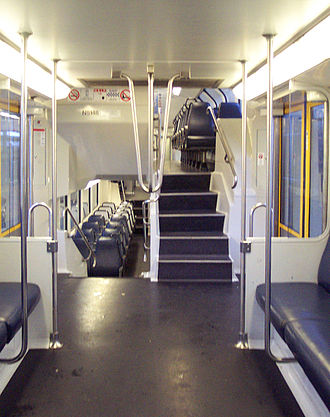 Sydney Trains T set - N5146 vestibule looking towards steps leading to lower and upper decks, prior to refurbishment