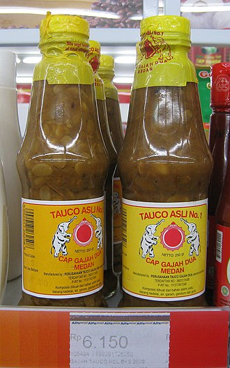 Tauco - Bottled taucos are on display in Indonesian supermarket