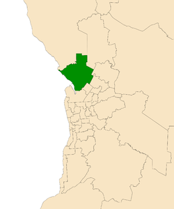 Map of Adelaide, South Australia with electoral district of Taylor highlighted