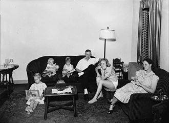 Atlanta Housing Authority - Family in Techwood Homes apartment, late 1930s