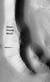 Zdjęcie czarno-białe. Widok z satelity. Podłużne, zakrzywione wzniesienie, na oświetlonym lewym stoku widoczna smuga.