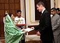 The Ambassador of France to India, Mr. Jerome Bonnafont presented his credentials to the President, Smt. Pratibha Devisingh Patil at Rashtrapati Bhavan in New Delhi on September 26, 2007.jpg