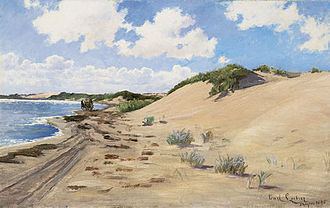 Skagen Painters - Carl Locher, Mail Coach on Skagen Beach (c. 1890)
