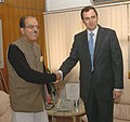 The Chief Minister of Jammu & Kashmir, Shri Omar Abdullah meeting the Union Minister for Water Resources, Prof. Saifuddin Soz, in New Delhi on January 27, 2009.jpg