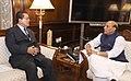 The Chief Minister of Mizoram, Shri Lal Thanhawla calling on the Union Home Minister, Shri Rajnath Singh, in New Delhi on February 13, 2018.jpg