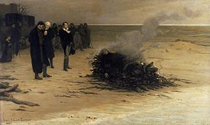 Percy Bysshe Shelley - The Funeral of Shelley by Louis Édouard Fournier (1889). Pictured in the centre are, from left, Trelawny, Hunt, and Byron. In fact, Hunt did not observe the cremation, and Byron left early.