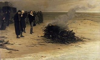 Leigh Hunt - The Funeral of Shelley by Louis Édouard Fournier (1889); pictured in the centre are, from left, Trelawny, Hunt, and Byron. (As a matter of fact Hunt was not standing before the fire, he remained in his coach the entire time.)