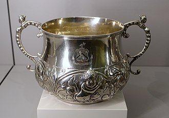 Caudle - The Holyoke Caudle Cup, made of silver circa 1690 by John Coney, and held at the Fogg Art Museum