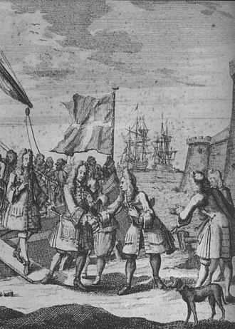 The Old Pretender lands in Scotland after Sheriffmuir. An 18th-century engraving. The Old Pretender lands in Scotland, 1715.jpg