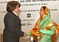 The President, Smt. Pratibha Devisingh Patil meeting the Minister for Economy and Trade of Syria, Mrs. Namiya Asi, during the Syria-India Business Summit at Damascus, in Syria on November 28, 2010.jpg