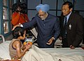 The Prime Minister, Dr. Manmohan Singh blessing a wounded child (Burn case) during his visit to Ramakrishna Mission Hospital, in Itanagar, Arunachal Pradesh on January 31, 2008.jpg