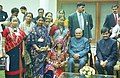 The Prime Minister Shri Atal Bihari Vajpayee and the Union Minister for Textiles Shri Sayed Shanawaz Hussain with the delegation of Master craftpersons and weavers, who received the National Awards for the year 2000 and 2001.jpg
