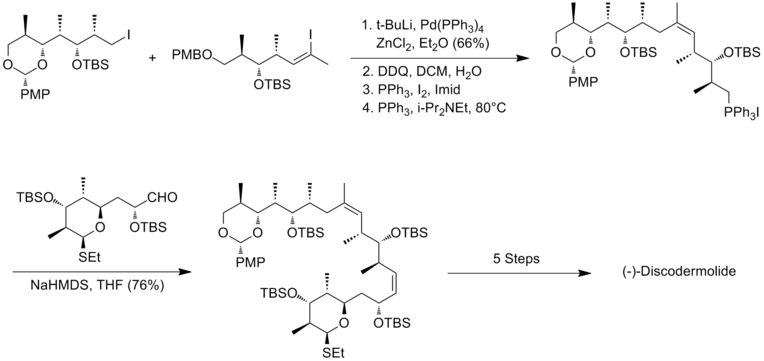 The Smith synthesis of (-)-discodermolide endgame.png