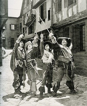 The Three Musketeers (1921 film) - Léon Bary, Eugene Pallette, Douglas Fairbanks and George Siegmann