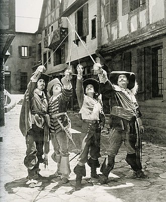 Léon Bary - Léon Bary, Eugene Pallette, Douglas Fairbanks, and George Siegmann in The Three Musketeers (1921)
