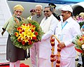 The Vice President, Shri M. Hamid Ansari being received by the Governor of Karnataka, Shri Vajubhai Rudabhai Vala and the Chief Minister of Karnataka, Shri K. Siddaramaiah, on his arrival, in Bengaluru, Karnataka.jpg