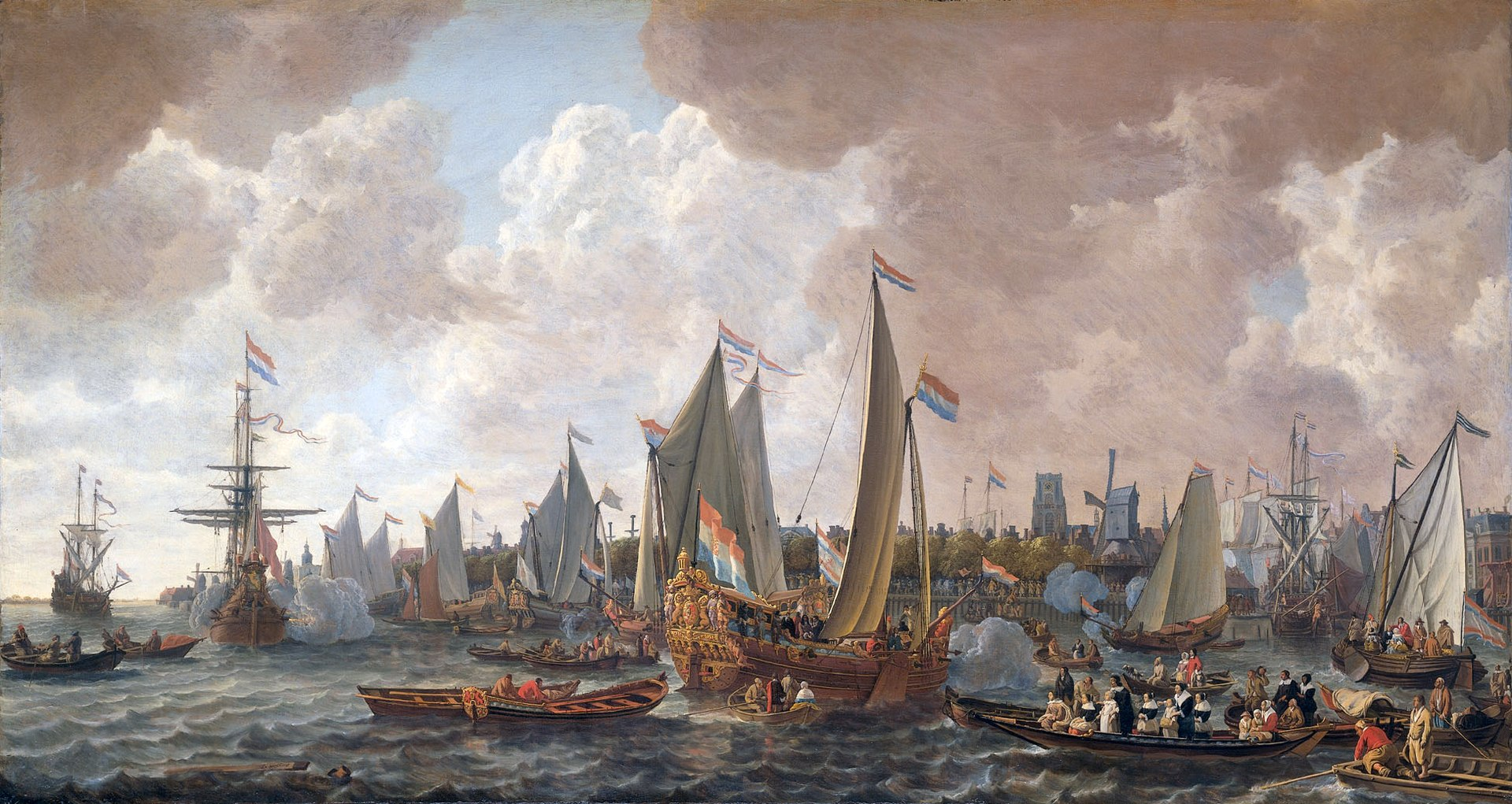 Seascape of vessels along a low-lying coastline