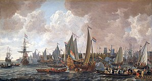 Charles II of England - Charles sailed from his exile in the Netherlands to his restoration in England in May 1660. Painting by Lieve Verschuier.