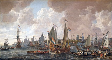 Charles sailed from his exile in the Netherlands to his restoration in England in May 1660. Painting by Lieve Verschuier. The arrival of King Charles II of England in Rotterdam, may 24 1660 (Lieve Pietersz. Verschuier, 1665).jpg