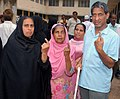 The differently abled voters after casting their vote at a polling booth, at Mohammad Umar Razzaba Municipal Urdu School, Madanpura, during the Maharashtra Assembly Election, in Mumbai on October 13, 2009.jpg