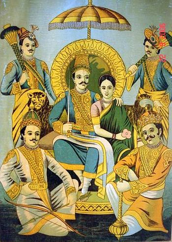 The five Pandavas with Draupadi (bazaar art, c.1910-20).jpg