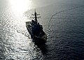 The guided missile destroyer USS Ramage (DDG 61) steams through the Mediterranean Sea April 9, 2014, in support of Noble Dina 2014 140409-N-CH661-376.jpg