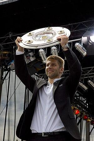 Thomas Hitzlsperger - Hitzlsperger celebrates winning the Bundesliga with VfB Stuttgart in 2007