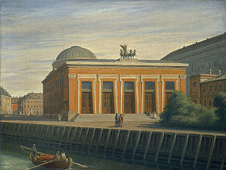 Bertel Thorvaldsens Plads - The square seen in a painting by Constantin Hansen from 1858 with the previous Christiansborg Palace seen to the right