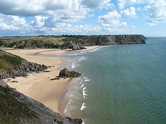 Protected areas of Wales - Three Cliffs Bay and Tor Bay on the Gower Peninsula, the first Area of Outstanding Natural Beauty to be designated in the United Kingdom