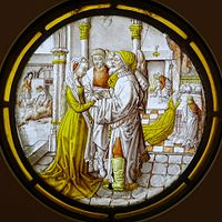 Three Rounels from the Life of Tobias, 3. The marriage of Tobias and Sara, Southern Netherlands, c. 1500, stained glass - Museum Schnütgen - Cologne, Germany - DSC09858.jpg