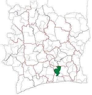 Tiassalé Department - Image: Tiassalé Department locator map Côte d'Ivoire