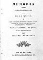 Title page of J. M. Bomtempo's Memoria sobre algumas ... Wellcome L0000701.jpg