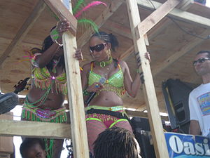 "Antigua Carnival - ""Tizzy"" leading her jam band El-A-Kru on Carnival Tuesday"