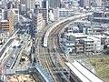 Tokaido Shinkansen sharp turn in Musashi-Kosugi 1.jpg