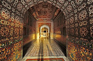Tomb of Jahangir - Much of the mausoleum's interior is adorned with Mughal-era frescoes.