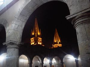 Guadalajara Cathedral - The towers of the Cathedral, as seen from the Northwest angle of the second-level corridor of the City Hall