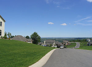 Onondaga, New York - A neighborhood in Onondaga overlooking the city of Syracuse