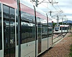Trams at Edinburgh Airport station (geograph 3676812).jpg