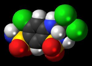 Trichlormethiazide - Image: Trichlormethiazide 3D spacefill