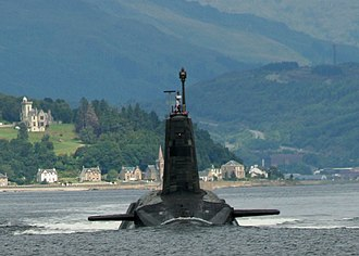 Strone - A Vanguard class submarine leaving its base on the Clyde. The village of Strone is visible in the background.