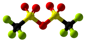 Trifluoromethanesulfonic anhydride - Image: Trifluoromethanesulf onic anhydride Ball and Stick