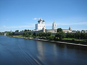 Pskov Krom - View of the Pskov Krom or Kremlin from the Velikaya River.