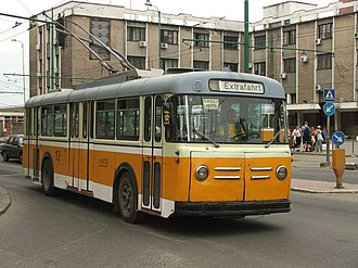 Trolleybuses in Winterthur - Image: Trolleybus Saurer in Timisoara